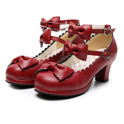 taobao agent Lolita daily lace round bow bow dark tea party custom large size simple handmade original small leather shoes