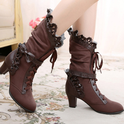 taobao agent Lolita daily winter with dark gorgeous style plus suede large size sweet bow pure handmade tea party original boots