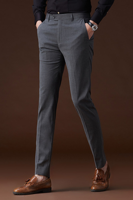 Quần nam mỏng màu xám phù hợp với quần kinh doanh thẳng phù hợp với ăn mặc của nam giới làm việc mùa hè phần mỏng Hàn Quốc phù hợp với quần Suit phù hợp