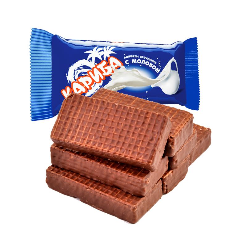 进口俄罗斯巧克力大奶牛冰激凌威化饼干休闲散装零食品糖果小包装