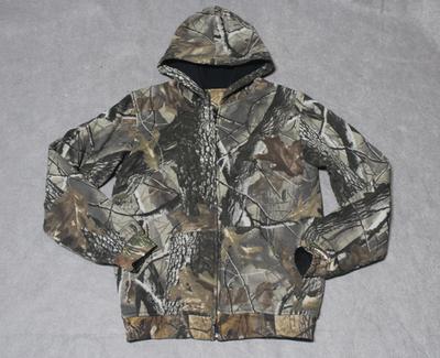 Ngoài trời mùa thu và mùa đông của nam giới câu cá và săn bắn bionic ngụy trang dày hoodie trùm đầu áo len áo giản dị Áo len