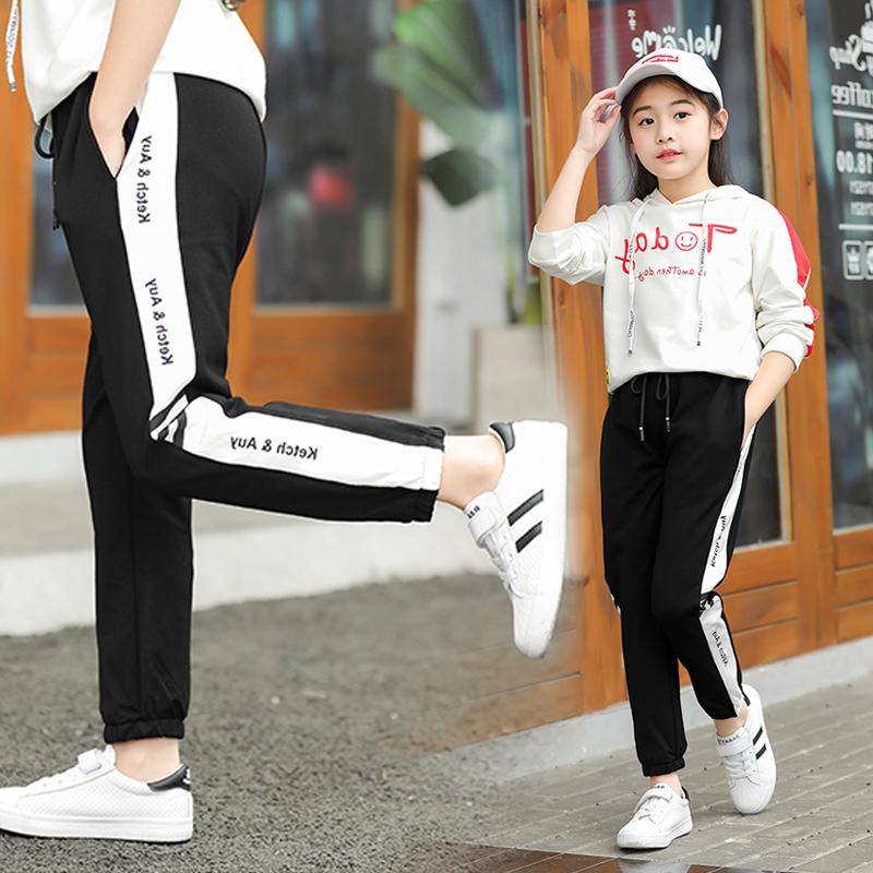 女童裤子秋冬外穿新款加绒儿童休闲童裤长裤洋气中大童运动裤宽松