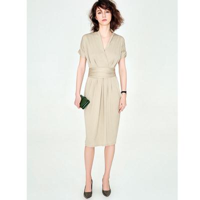 18 đề nghị mùa hè mới nhập khẩu vải thiết kế thanh lịch v- cổ áo mỏng bông đầm đầm