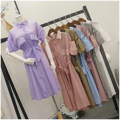 Tao Tao quần áo mùa hè mới lỏng POLO cổ áo màu rắn đơn ngực áo sơ mi nữ 53808 # váy đầm