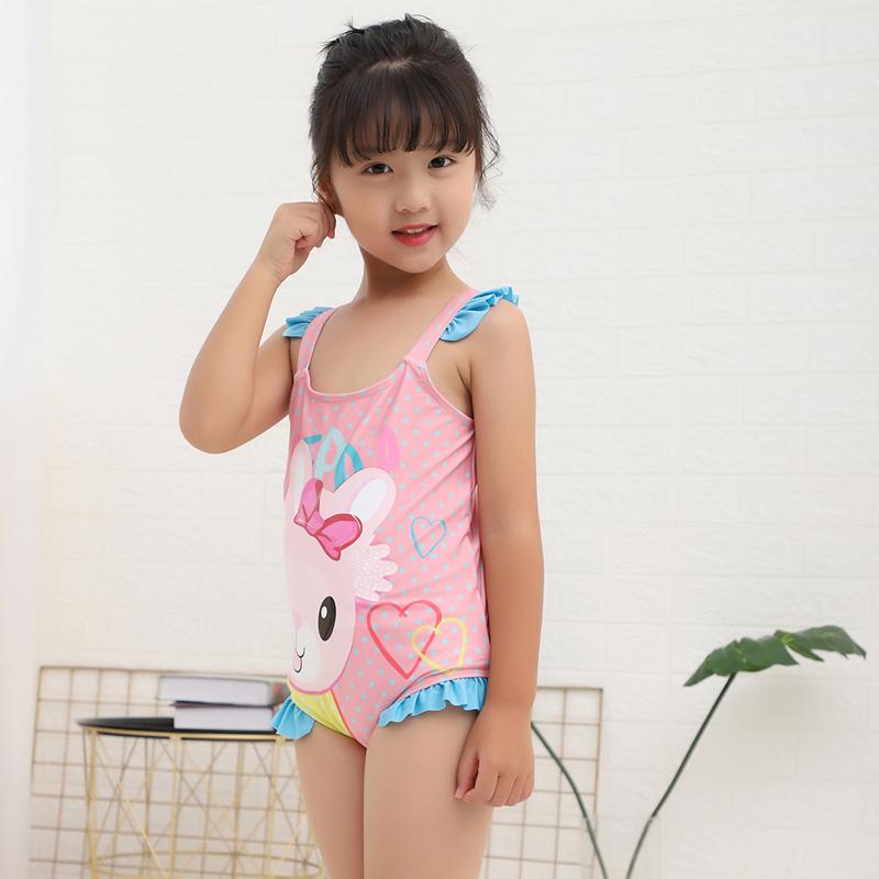 2-3-5岁可用 6件套 令史 女童连体粉红泳衣