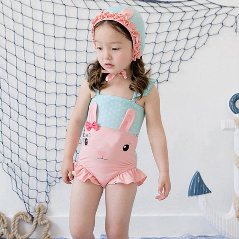 Korean children's swimsuit, girls' swimsuit holiday, Korean style rabbit swimsuit
