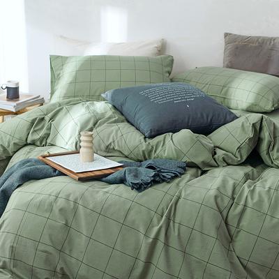 日式水洗棉被套单件纯棉格子条纹1.5米1.8m单双人全棉被罩200x230