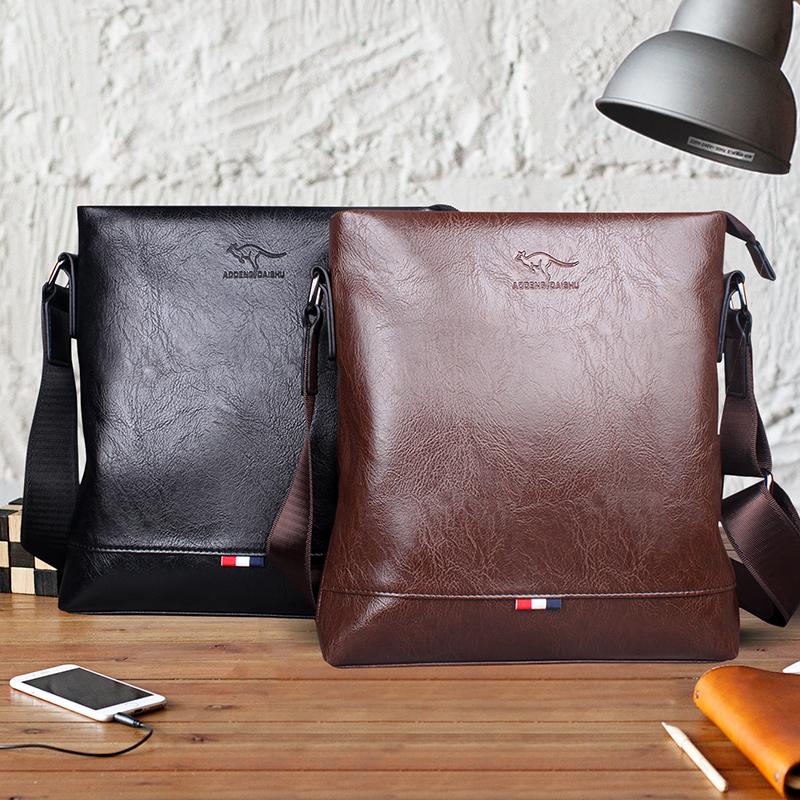 男士单肩包斜跨包2018新款袋鼠商务休闲小背包时尚韩版潮男包包