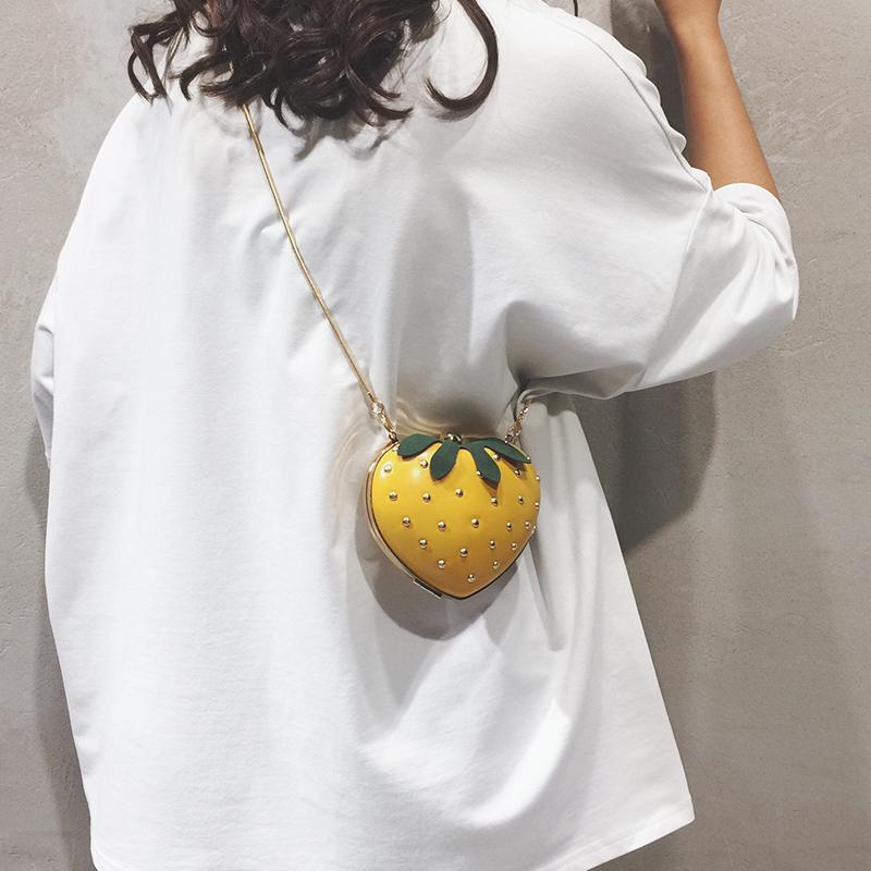 网红小包女包夏天小清新草莓包个性迷你链条包百搭ins单肩斜挎包