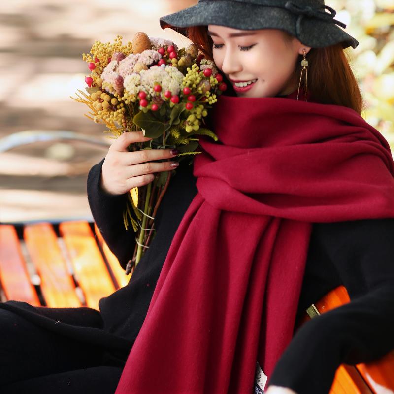 【颜恋】韩版纯色双面大披肩羊绒围巾