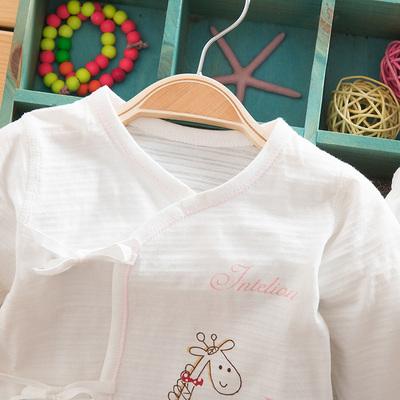 春夏薄款婴儿纯棉内衣套装宝宝绑带长袖开裆合同套新生儿衣服柔软