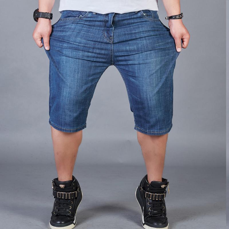 Mùa hè của nam giới quần short chất béo Slim kích thước lớn stretch denim năm quần của nam giới thường phần mỏng quần chất béo nam
