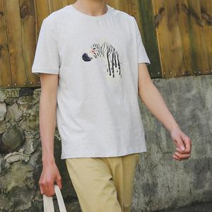 新品日系复古青年斑马印花纯棉短袖男韩版欧美圆领T恤6853-p35