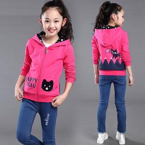 女童秋装外套批发 2017年新款拉链外套 休闲童单层外套