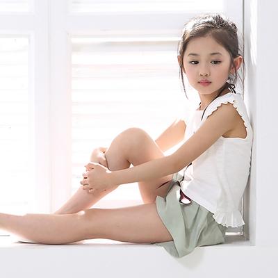女童夏季宽松新款中大童无袖t恤小清新棉麻两件套 儿童套装潮