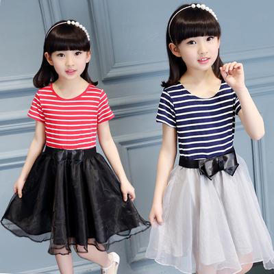 童装女童连衣裙夏季短袖儿童公主裙4-6-7-8-9-12岁中大童纯棉夏装