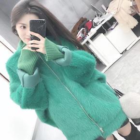 韩版宽松一体绒毛型大衣外套女