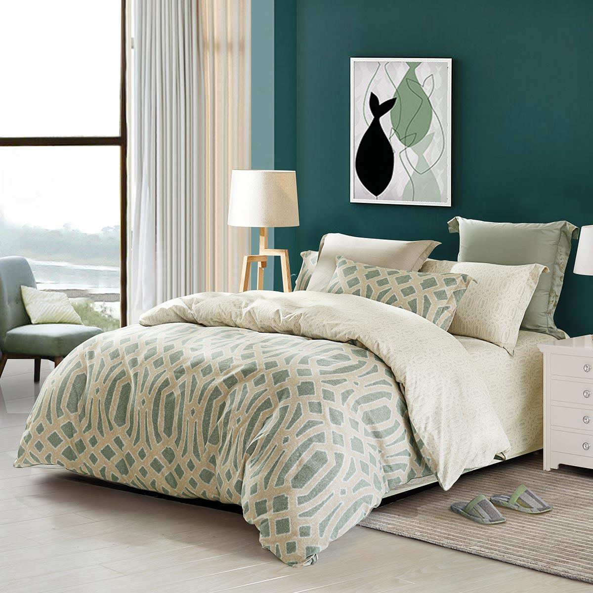 水星家纺纯棉磨毛四件套全棉加厚秋冬床上用品绿条纹欧式简约床品淘宝购物优惠券