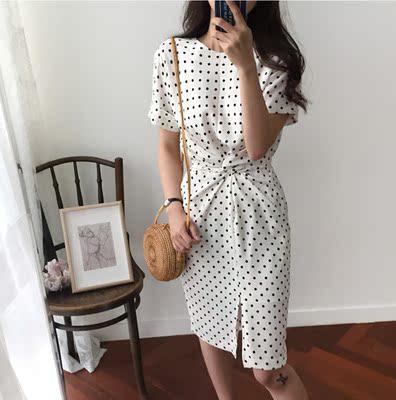 18 mùa hè cô gái mới cảm giác của tuổi giảm retro sóng điểm eo chéo ren phía trước chia đầm đầm váy đầm