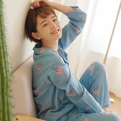 全棉家居服  女士睡衣双层纱布19新款可爱长袖套装睡裙休闲七分袖