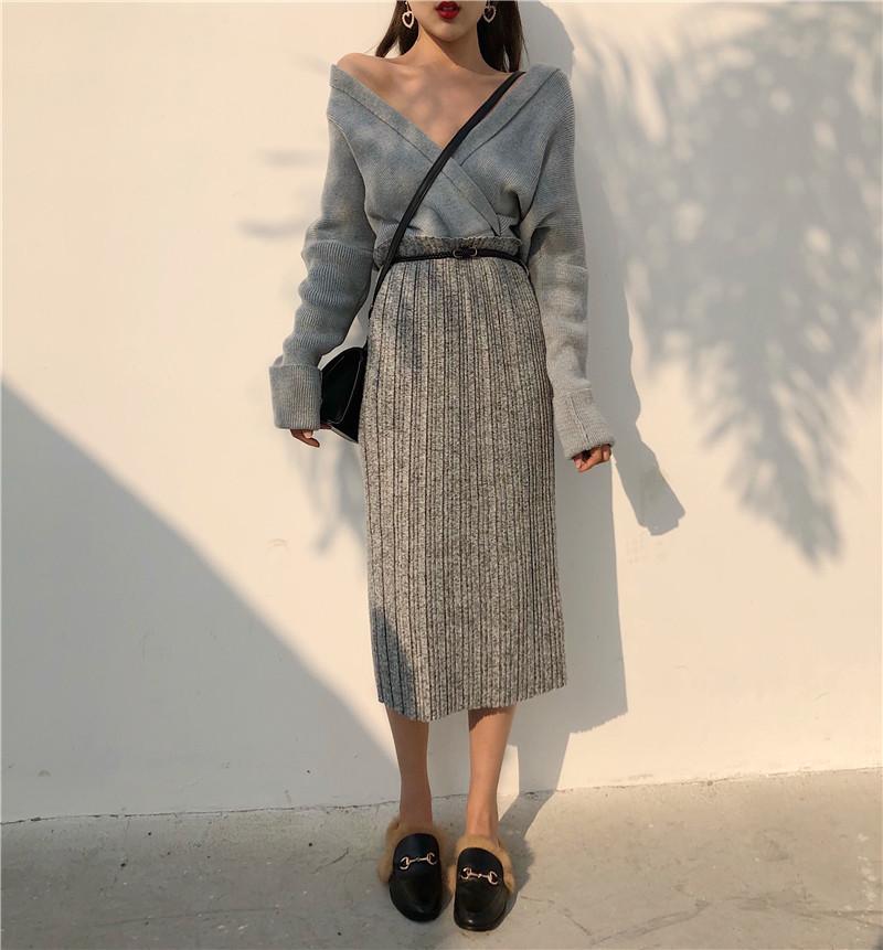 实拍实价2812# 气质显瘦高腰百褶半身裙