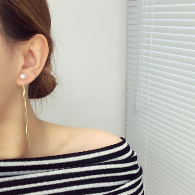 天天特价简约几何珍珠流苏耳钉耳夹无耳洞女学生可爱长款耳环073