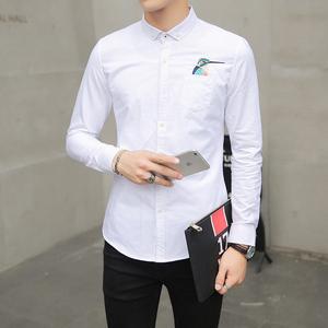 9081#2017春季新款衬衣韩版修身男装长袖衬啄木鸟休闲衬衫男