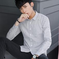 #81156衬衫条纹修身基础款男寸衫全棉潮流衬衣上衣长袖衬衣