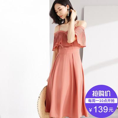 [Giá mới 139 nhân dân tệ] 2018 mùa hè dây đeo đầm off-vai đầm voan cổ tích nhẹ nhàng váy thắt lưng