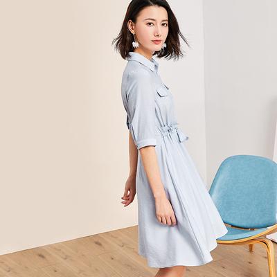 Giá mới 129 nhân dân tệ [] 2018 Summer thứ năm tay áo đầm đầm trong siêu nhẹ nhàng eo váy cổ tích