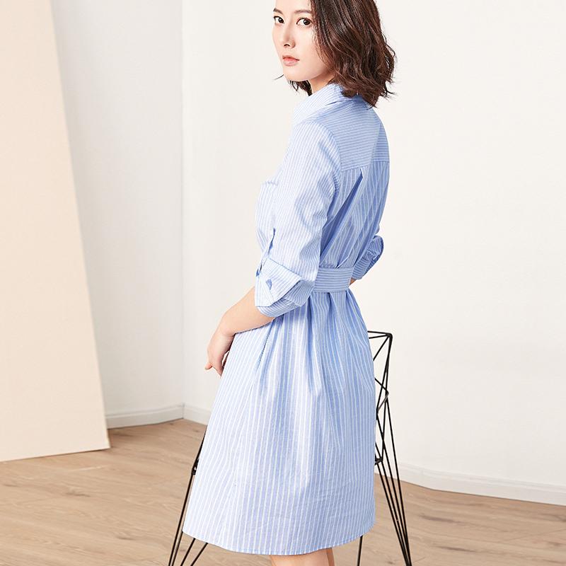 [Giá mới 99 nhân dân tệ] 2018 mùa hè màu xanh và trắng sọc bông áo đầm bông đầm dài là mỏng