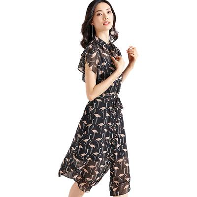 [Giá mới 119 nhân dân tệ] 2018 Xia Feifei tay áo in ống tay áo đầm voan hai mảnh váy nhẹ nhàng Sản phẩm HOT
