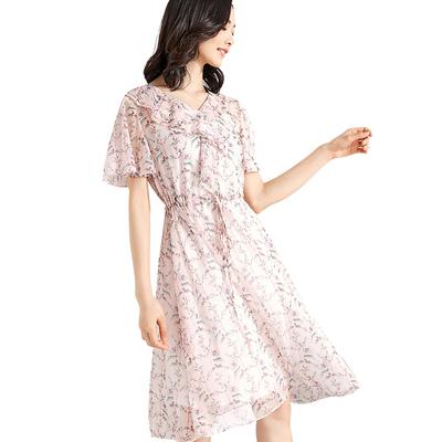 [New giá 149 nhân dân tệ] 2018 mùa hè ngắn tay cổ chữ V lá sen in voan eo váy cổ tích váy Sản phẩm HOT