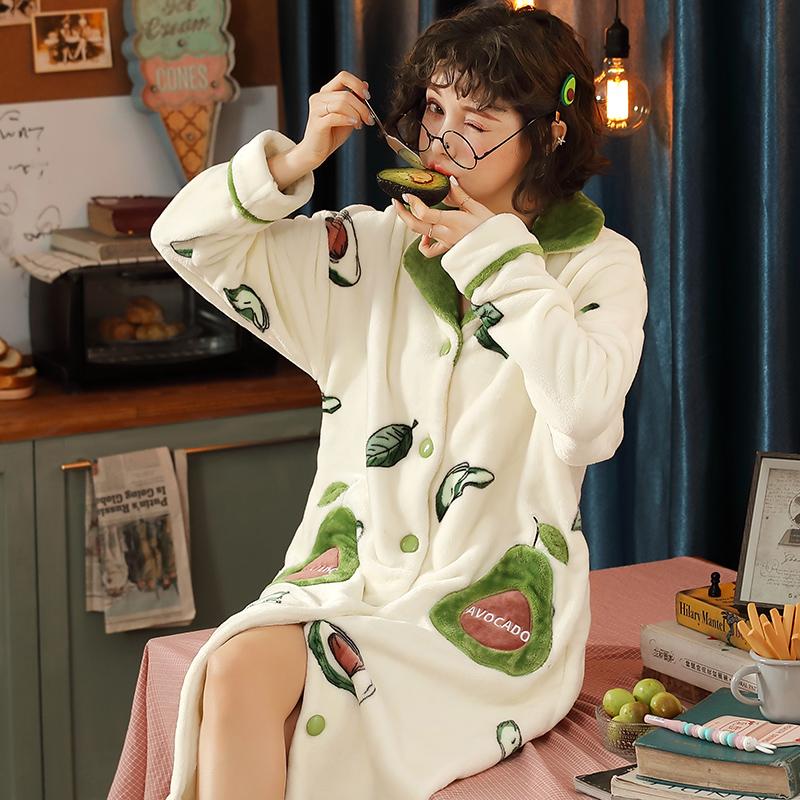 Mùa thu và mùa đông áo ngủ của phụ nữ san hô lông cừu bơ xanh flannel dày đồ ngủ dài tay áo choàng mặc quần áo mùa đông sinh viên dịch vụ nhà - Night Robe