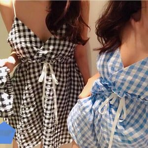 2色~配發帶~~元氣少女格紋吊帶睡衣+短褲睡衣三件套893
