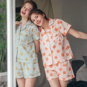 配眼罩韩国夏季新品 少女饼干印花短袖上衣+短裤睡衣套装830#