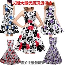 现货速卖通亚马逊爆款赫本风复古无袖连衣裙女夏纯棉大摆裙有腰带