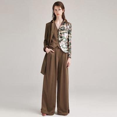 [奥莱不退换]朱熙越设计师高级定制短款军绿色修身西装马甲女