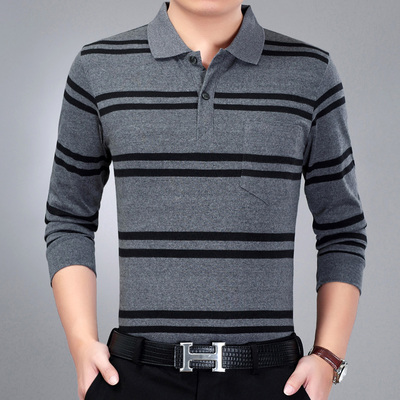 Mùa xuân và mùa hè nam t-shirt dài tay ve áo trung niên sọc polo nam lỏng áo sơ mi trung niên giản dị cha mặc T-Shirt áo cotton Áo phông dài