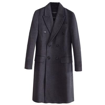 Len áo khoác nam 2018 mùa xuân và mùa thu mới trạm Châu Âu đôi ngực dài tay dài cashmere coat kích thước lớn SỐ 988 Áo len