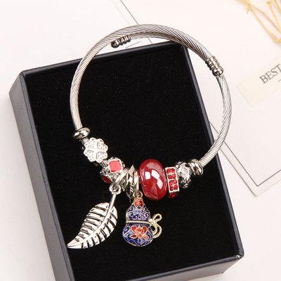韩国简约多元素葫芦树叶吊坠手链挂件时尚百搭diy串珠手镯女手饰