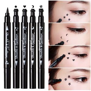 Đúp đánh đầu con dấu bút kẻ mắt màu đen hoa sao trăng hình trái tim không thấm nước không nở bên trong mắt dòng bút