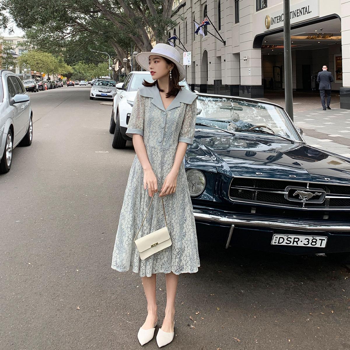 大喜自制女款短袖褶皱海军型领蕾丝连衣裙显瘦连衣裙