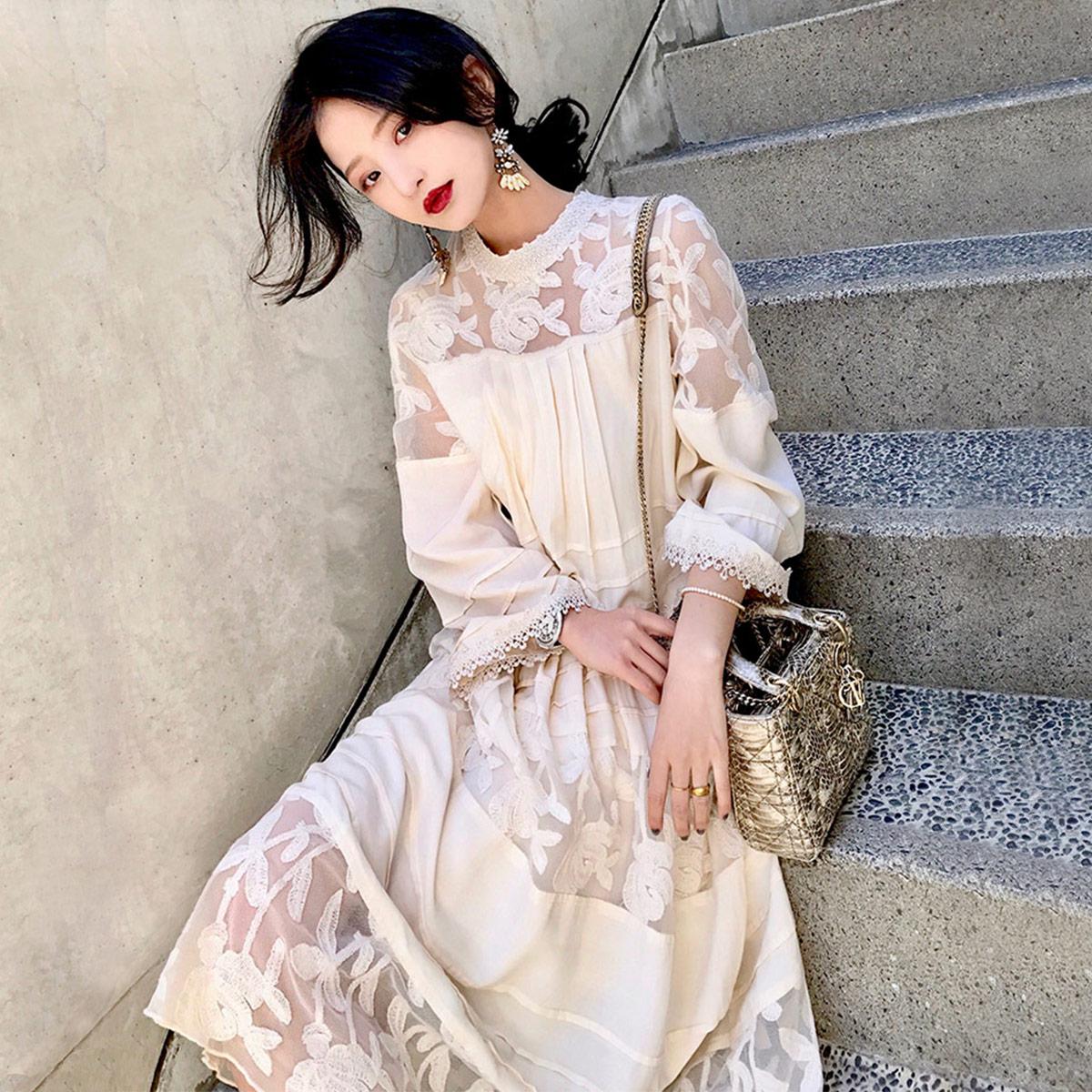 大喜自制春装新款网布绣花拼接吊带中长款显瘦两件套连衣裙