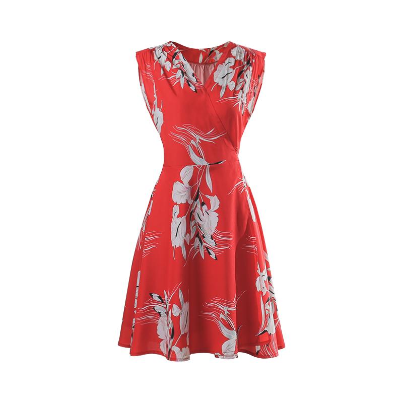 Daxi tự chế mùa hè mới màu đỏ retro in tính chữ thập V cổ được mỏng bọc dây đeo đầm