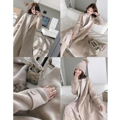 大喜自制冬季新款100%羊毛手缝双色双面呢大衣女西装领呢子外套潮
