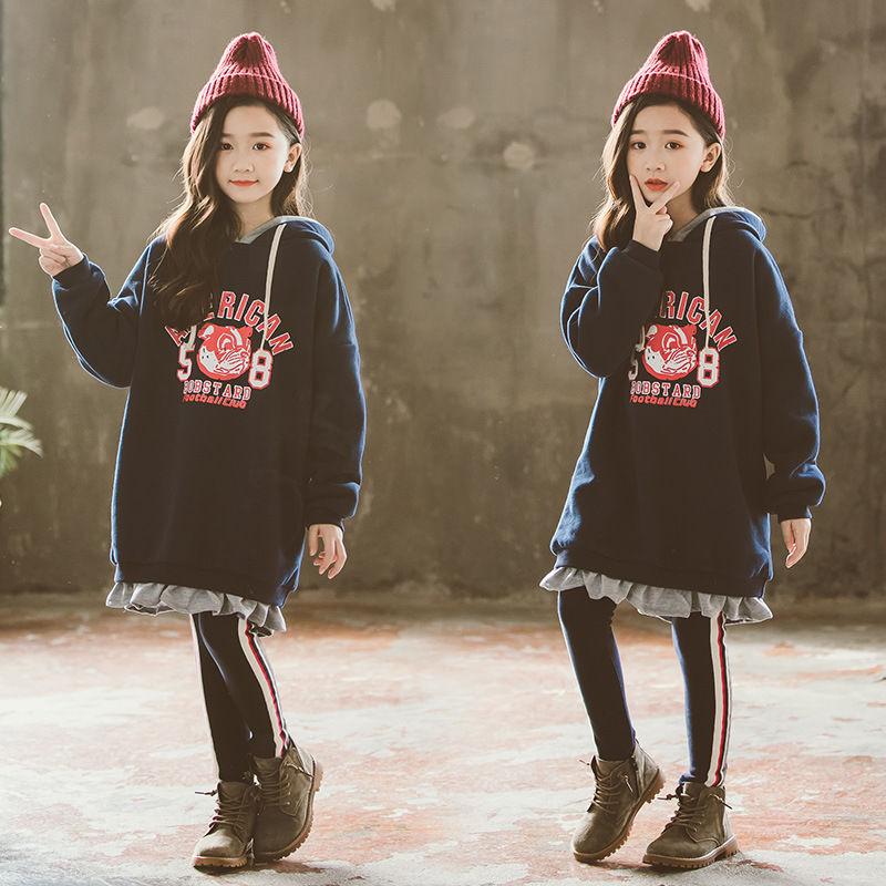 2020秋冬装新款童装女童中长款加绒卫衣儿童字母连帽宽松连衣裙潮