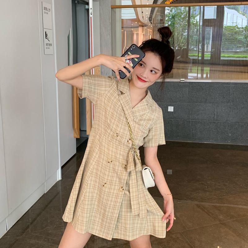 智熏裙法式桔梗裙新款气质显瘦收腰A字裙格子连衣裙女夏