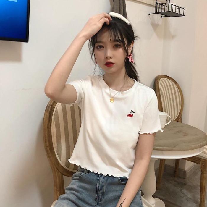 夏装新款百搭ins潮短袖T恤女短款上衣修身白色打底衫学生