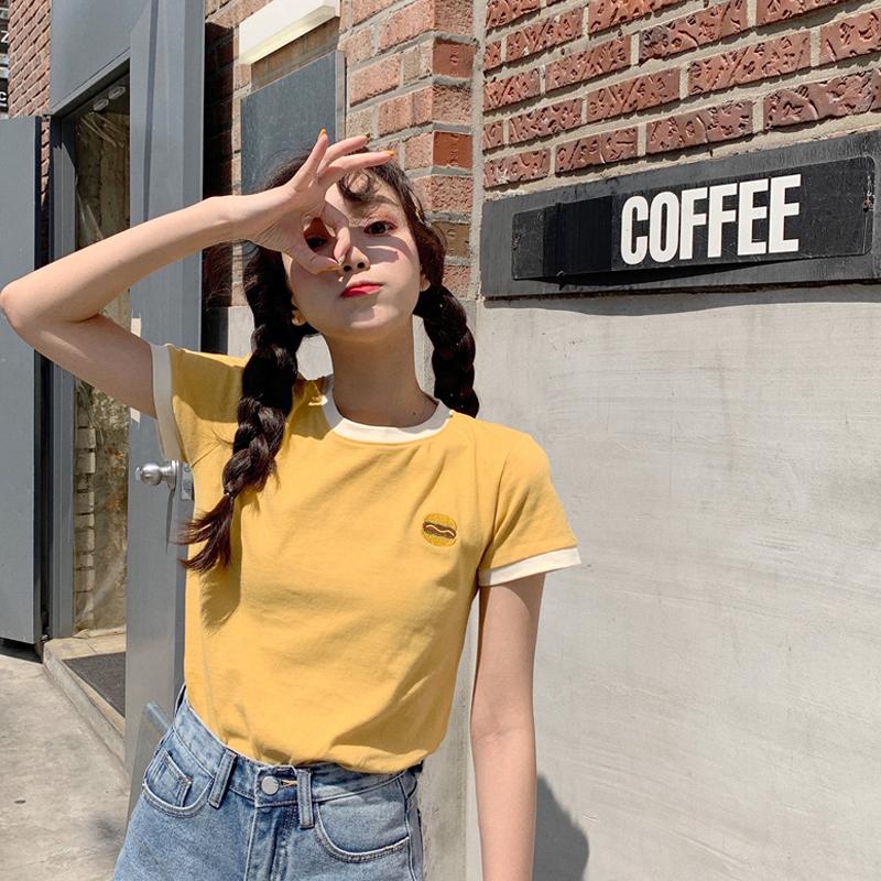 超火泫雅风衣服女新品夏装修身短袖T恤ins洋气百搭上衣潮
